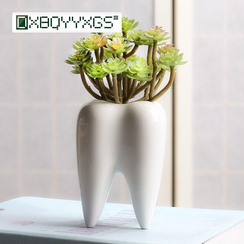 Creative Tooth shape desktop ceramics flower pot mini succulent plant container personality Home garden balcony decoration