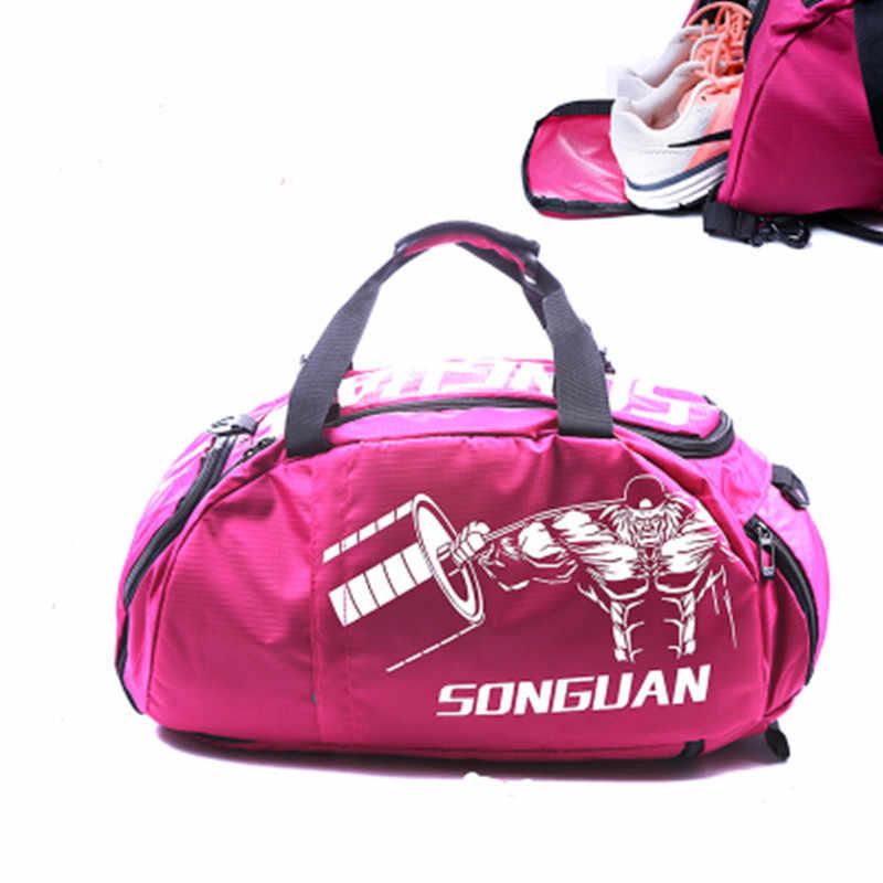 Su geçirmez spor çantası erkek kadın spor eğitim çantası çok fonksiyonlu seyahat/bagaj Bolsa omuz çantası ayakkabı cebi ile
