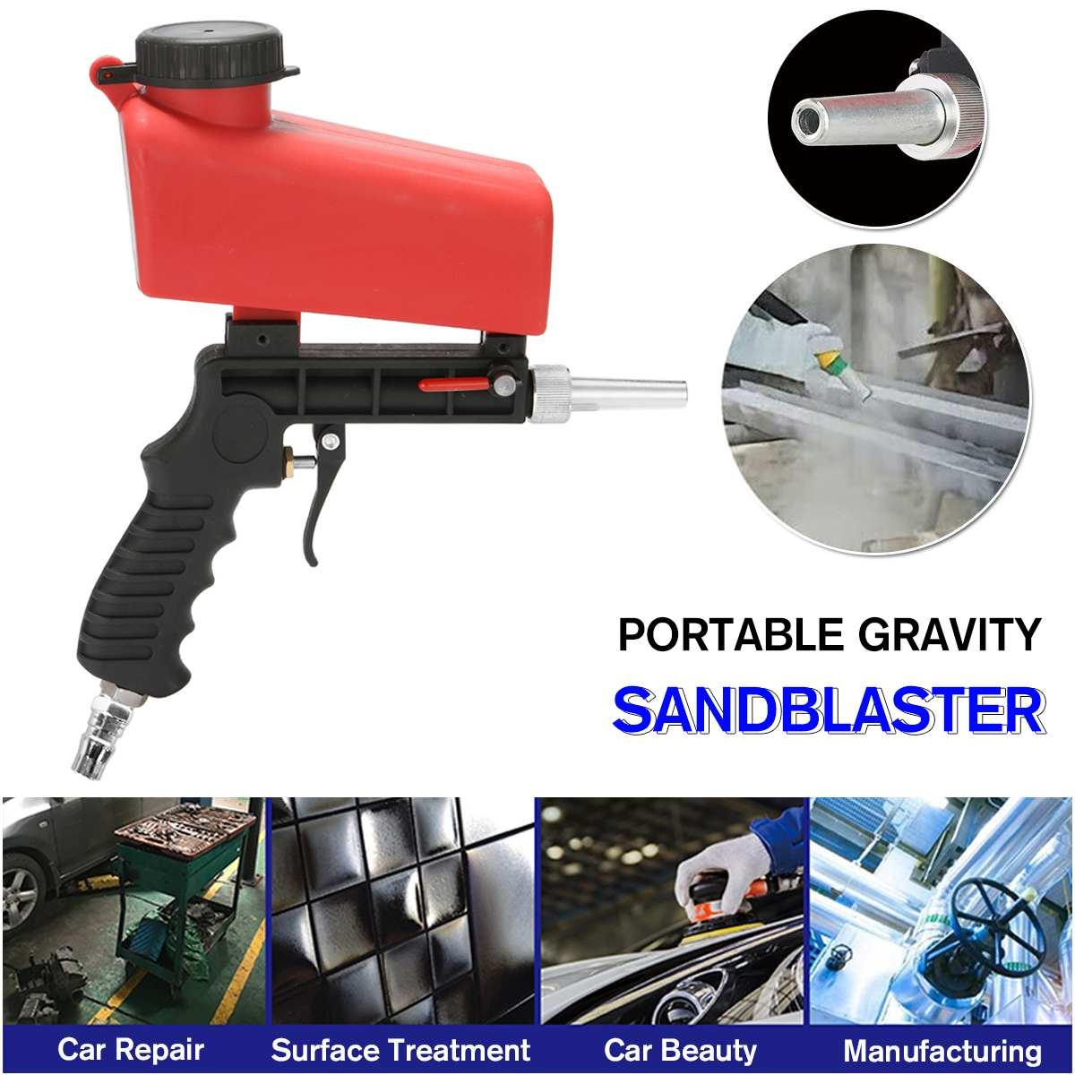 90psi Portable Gravity Sandblasting Guns Aluminium Pneumatic Sandblaster Spray Guns Sand Removal Blasting Power MachineSpray Guns   -