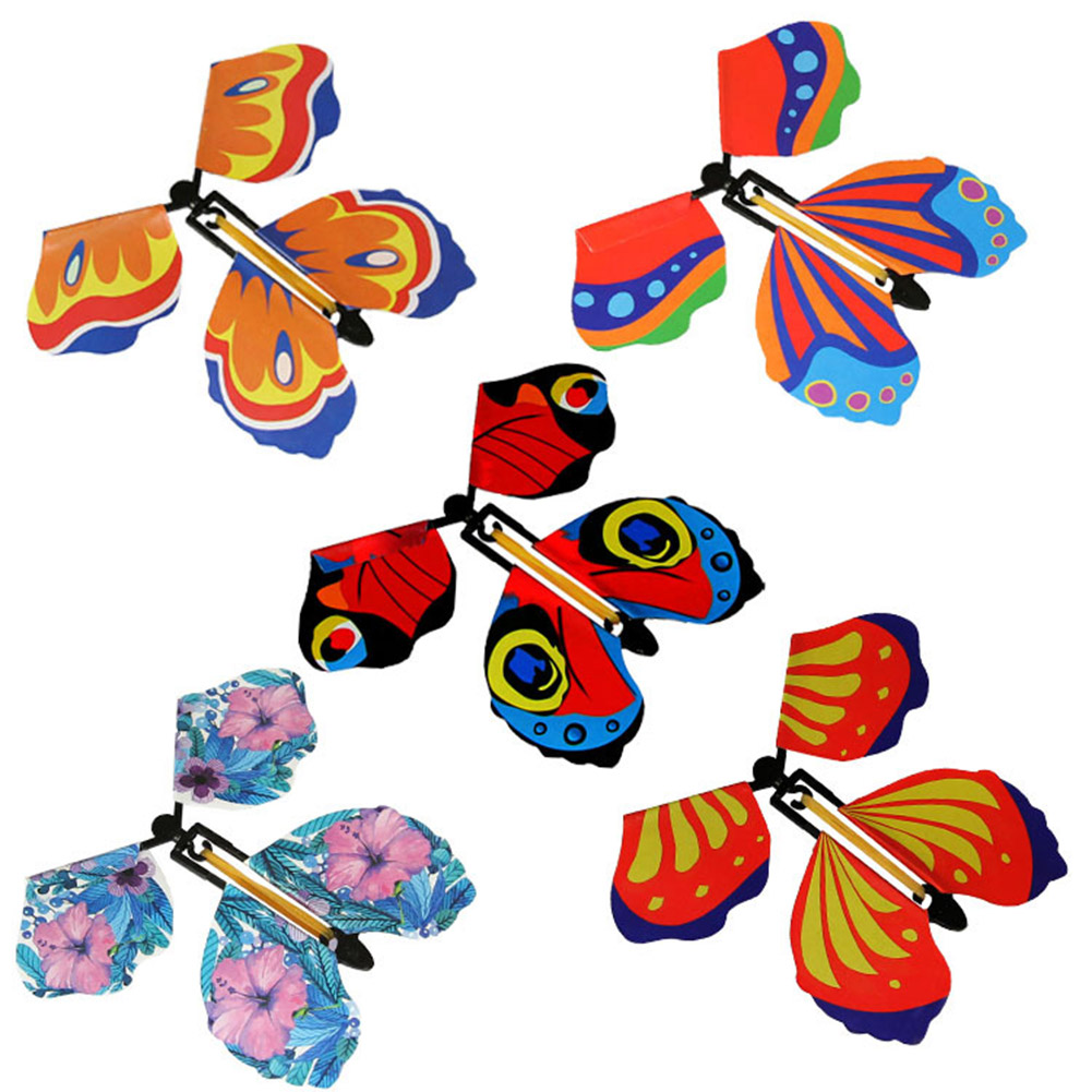 Hot Selling 5pcs Magic Flying In The Book Butterfly Rubber Band Powered Wind Up Butterfly Toy For Kids LBV