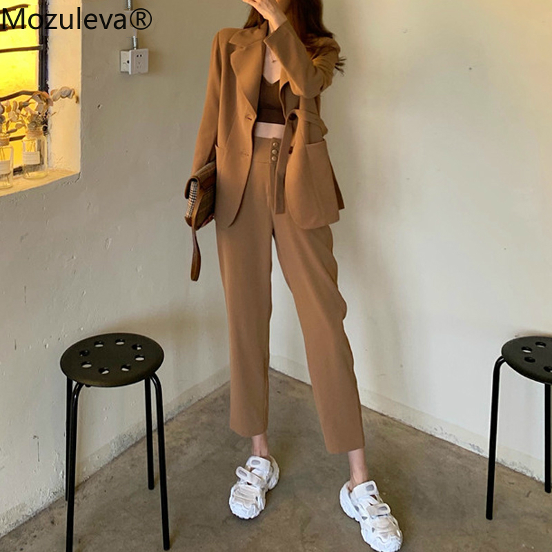 Mozuleva Fashion Khaki Women Pant Suits 2020 Casual Female 2 Pieces Set Single-breasted Blazer Jacket & High Waist Pencil Pants