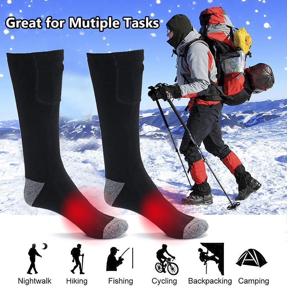 Hiver nouvelle télécommande chaussettes chauffées 2200mA batterie électrique chauffée coton chaussettes pour Snowboard Ski pêche randonnée