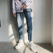 купить Autumn New Jeans Men Slim Fashion Washed Solid Color Casual Denim Trousers Man Streetwear Wild Hip Hop Torn Hole Jean Pants Men дешево