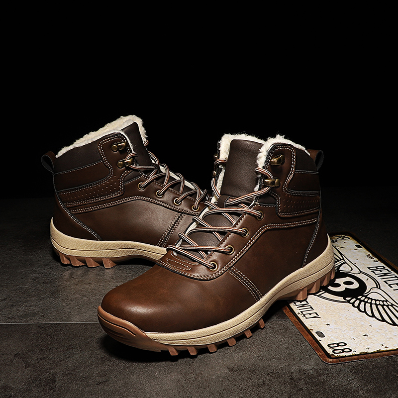 Boots Men Winter Warm Snow Shoes Mens Leather Shoe Ankle Cowboy Waterproof Shose Man Motorcycle Casual Boot 2019 Men's Footwear