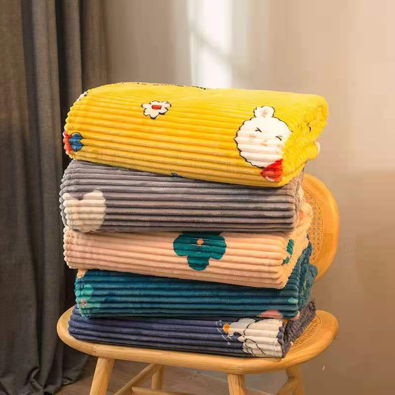 Winter Cute Printing Coral Fleece Blankets and Throws Summer Office Air Conditioner Throw King Flannel Bed Sheet No Pillowcase