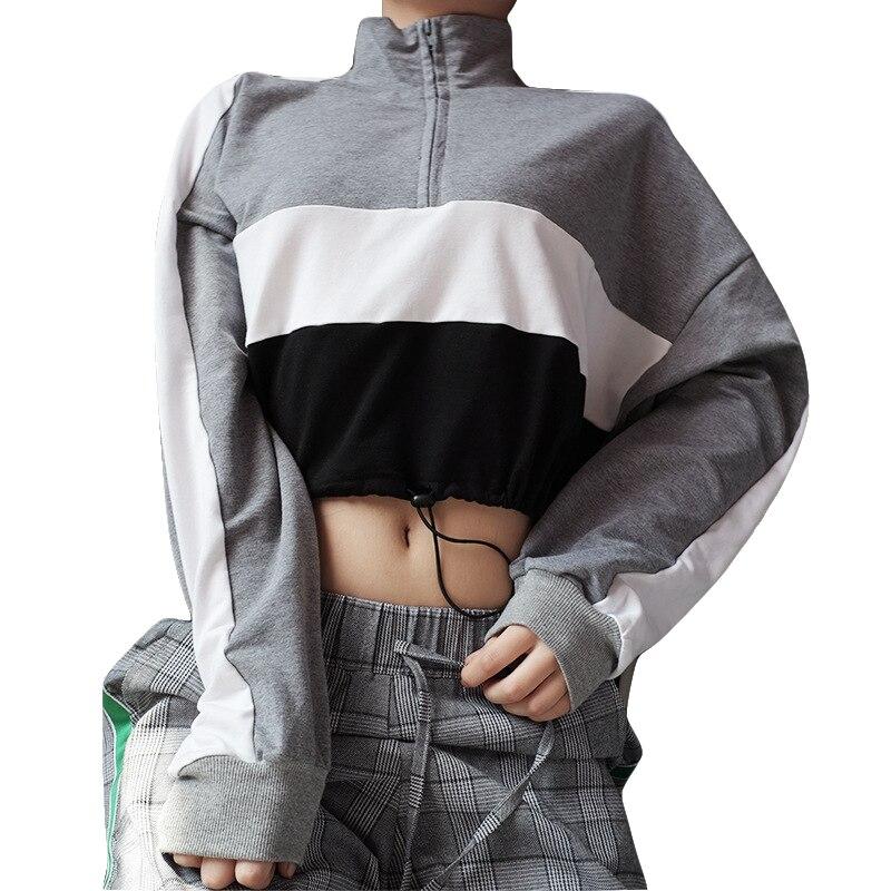 Spring Autumn Sweatshirt Womens Splicing Zipper Pullovers Ladies Streetwear Hoodies Female Tops Long Sleeves Top Sweatshirt