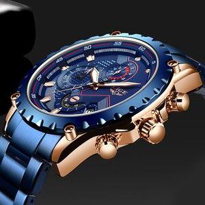Image 2 - LIGE relojes de acero inoxidable azul para hombre, de cuarzo, resistente al agua, con esfera de fecha, cronógrafo deportivo, 2020