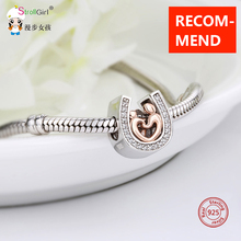 StrollGirl 925 Sterling Silver Beads horseshoe CZ Mom and kid Charms Fit DIY Original pandora Bracelet Beads Jewelry making gift цена