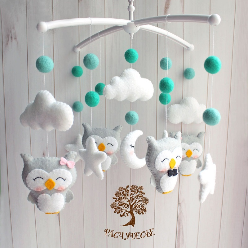 Baby Mobile DIY Rattles Toys Pregnant Mom Handmade For Newborn Baby Crib Bed Bell Toddler Rattles Carousel For Cots 0-12 Months