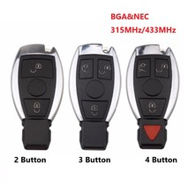 2 3 3 + 1 düğme akıllı uzaktan anahtar 315 mhz/433 mhz fob Mercedes Benz sonra 2000 + NEC ve BGA yerine NEC çip ile logo
