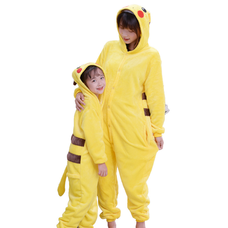 Kid Adult Pikachu Pokemon Kigurumi Onesie Women Animal Costume Fancy Soft Anime Cosplay Sleepwear Child Boy Girl Winter Jumpsuit