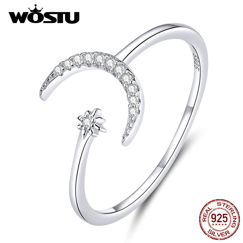 WOSTU Real 925 Sterling Silver Moon Wedding Opening Rings For Women Dazzling Zircon Adjustable Rings Fine Jewelry Gift CQR569