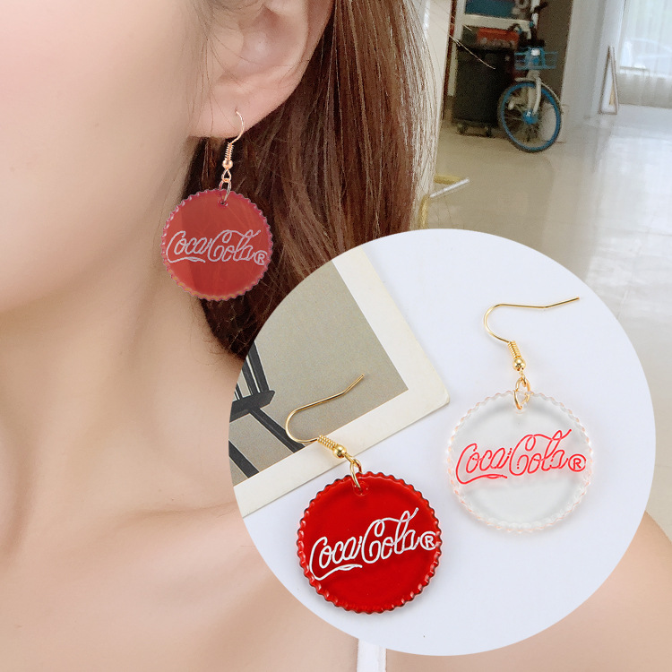 Creative Coke Bottle High Personality Asymmetrical Earrings Earrings Fashion Jewelry Wholesale
