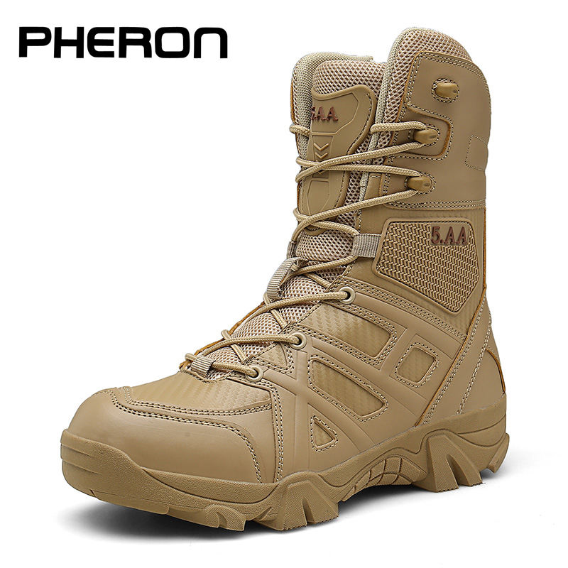 Men High Quality Brand Military Leather Boots Special Force Tactical Desert Combat Men's Boots Outdoor Shoes Ankle Boots Zapatos