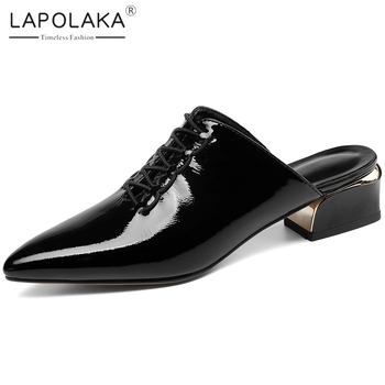 Lapolaka Hot New Design Genuine Cow Leather Chunky Heels Summer Shoes Woman Pumps Mules Pointed Toe Slip-On Casual Pumps