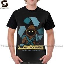 Camiseta de Alien para reciclar tu camiseta de droides para hombre, camiseta estampada clásica impresionante de poliéster
