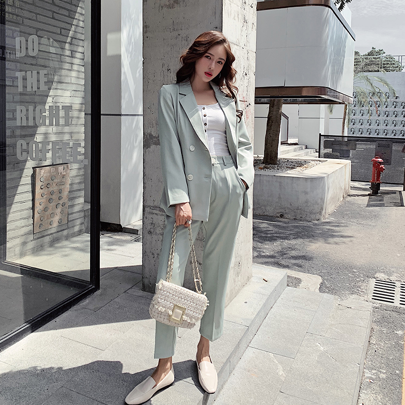 Vintage Autumn Winter Spring Women Pant Suit  Notched Blazer Jacket & Pant 2019 Office Wear Women Suits Female Sets