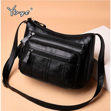 YBYT vintage casual crossbody bags for women 2019 soft PU leather shoulder bag Multi-layer pocket fashion handbags