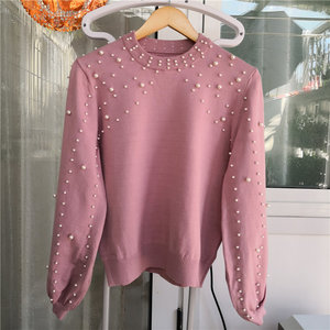 Image 5 - LUOSHA 2019 Autumn Winter New Women Two Piece Sweat Set Pearl Beading Knitted Pullover +Pencil Skirt Women Elegant 2 Piece Suits