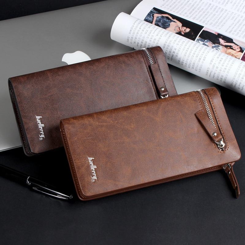 Baellerry Brand 2020 Luxury Long Wallet Men PU Leather Zipper Card Holder Purse Top Quality Male Business Clutch