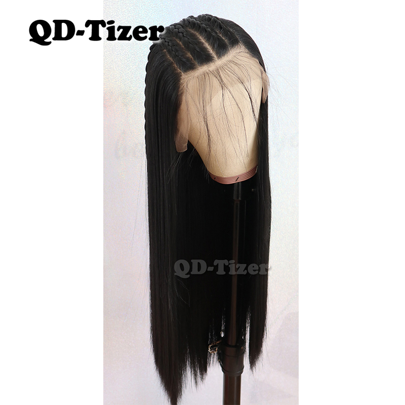 QD-Tizer 13*6 Lace Front Wigs Long Straight Hair Black Color With Baby Hair Glueless Fiber Synthetic Lace Front Wigs