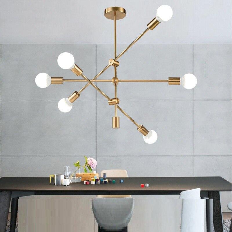 Modern Led Chandelier Lighting Fixtures E27 Base Lustres Luminaire Dining Room Restaurant Vintage Gold Black Chandeliers Lights