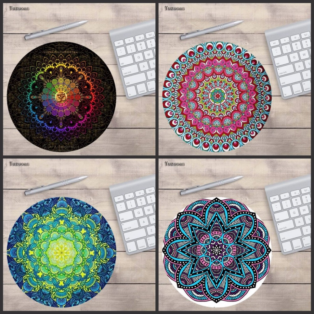 Yuzuoan Bohemian Flower Style Anti Slip For Home Office PC Gaming LOL CS GO Vintage  Round Mouse Pad Carpet Mouse Pad Mat