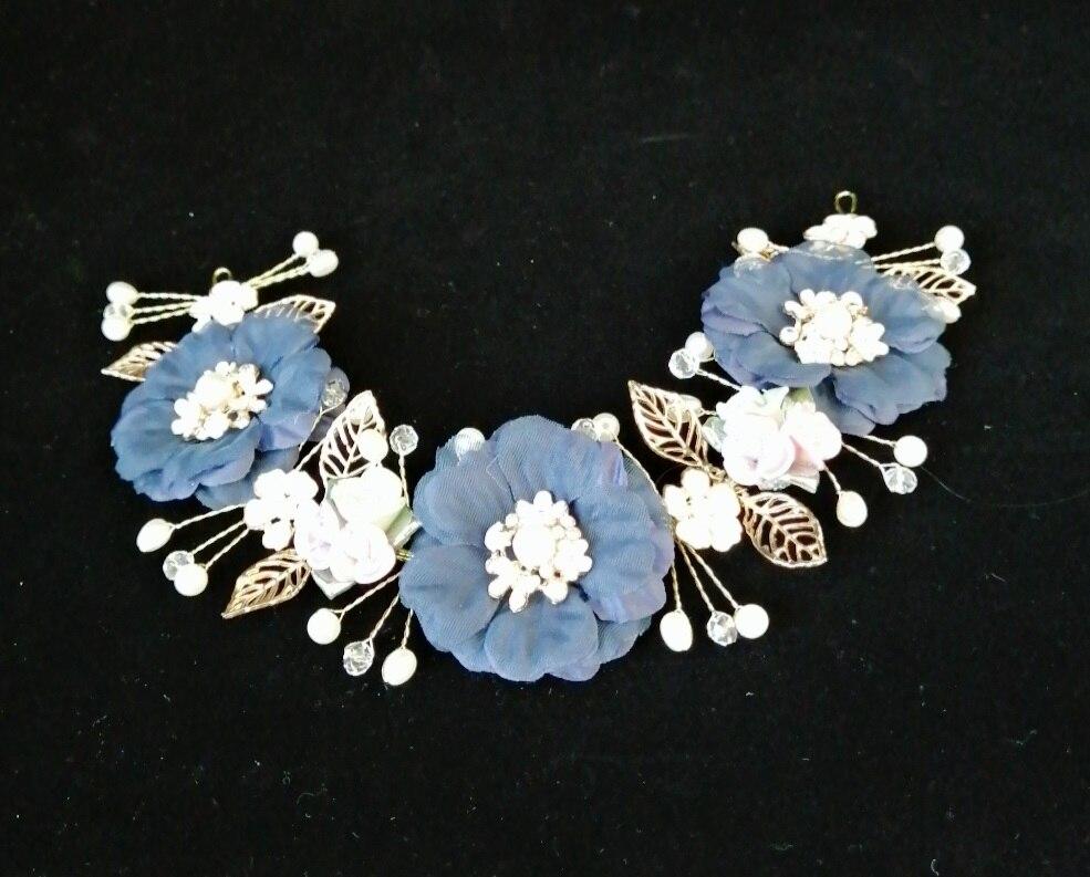 Luxury Bridal Tiara Wedding Ring Bearer Comb Garland Hairwear Jewelry Accessories,Korean Navy Blue 3D FLora Rhinestonel Hairband