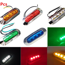 10x 10V-30V 4LED Car Chrome Bezel LED 24V Side Marker Light Tail Lamp Auto Car Bus Truck Lorry Trailer caravan Clearance lights