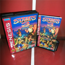 Only Work on NTSC U Streets of Rage 3 Sonic Version US Cover with Box and Manual For Sega Megadrive Genesis Game Console MD card