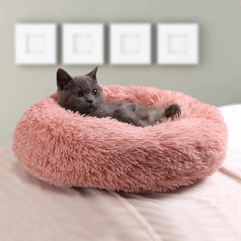 Супер мягкий удлиненный плюш теплый коврик для животных симпатичные легкие питомник кошка спальную корзинку круглая кровать пушистый прия...