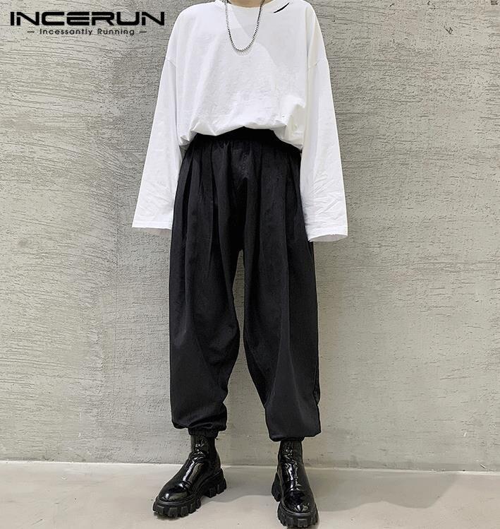 INCERUN New Fashion Men Pants Baggy Elastic Waist Solid 2020 Pleated Trousers Men Streetwear Harem Pants Joggers Pantalon S-5XL