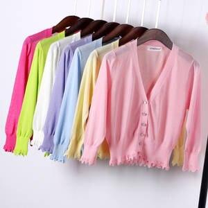 Knitted Cardigans Coat Ice-Silk Pink Black White V-Neck Women Ladies Summer Short Lace