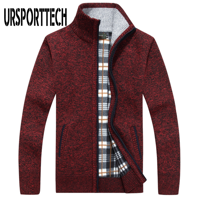 URSPORTTECH Brand Knitted Cardigan Sweater Men Coat Casual Stand Collar Male Jacket Coats Fashion Men Knitting Sweater Plus Size(China)