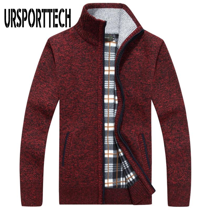 URSPORTTECH Knitted Mens Sweater Cardigan Coat Casual Faux Fur Wool Sweater Jackets Men Knitting Sweater Plus Size Warm Cardigan