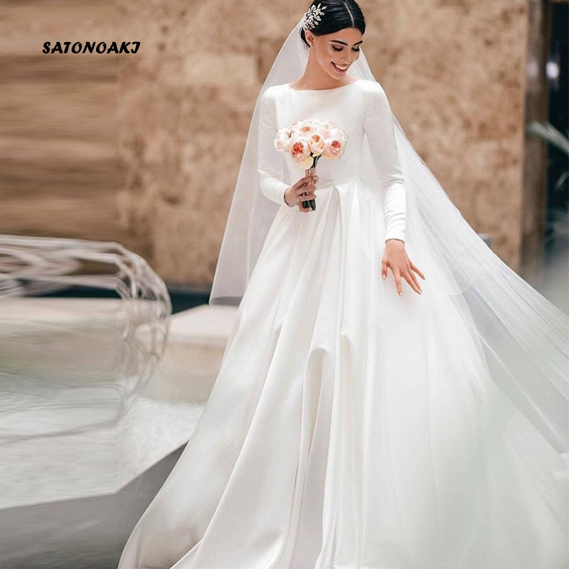 SATONOAKI Simple Vintage White Ivory A-line Wedding Dresses Long Sleeves Royal Satin Castle Garden Bridal Dresses Custom Made