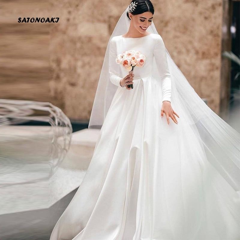 SATONOAKI Simple Vintage White Ivory A-line Wedding Dresses Long Sleeves Royal Satin Castle Garden Bridal Dresses Custom Made