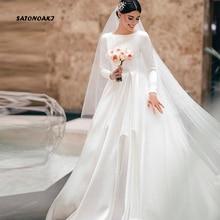 SATONOAKI Simple Vintage blanco marfil Línea A vestidos de novia de manga larga Royal satinado Castillo jardín vestidos de novia por encargo