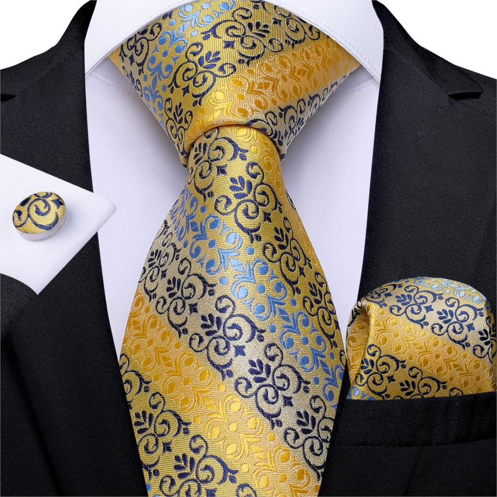 Gift Men Tie Gold Blue Purple Striped Silk Wedding Tie For Men DiBanGu Designer Hanky Cufflink Quality Men Tie Set Business 7342