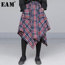 [EAM] falda de medio cuerpo con cintura alta elástica para mujer, roja, asimétrica, a cuadros, a la moda, Primavera, otoño, 2020, JD402