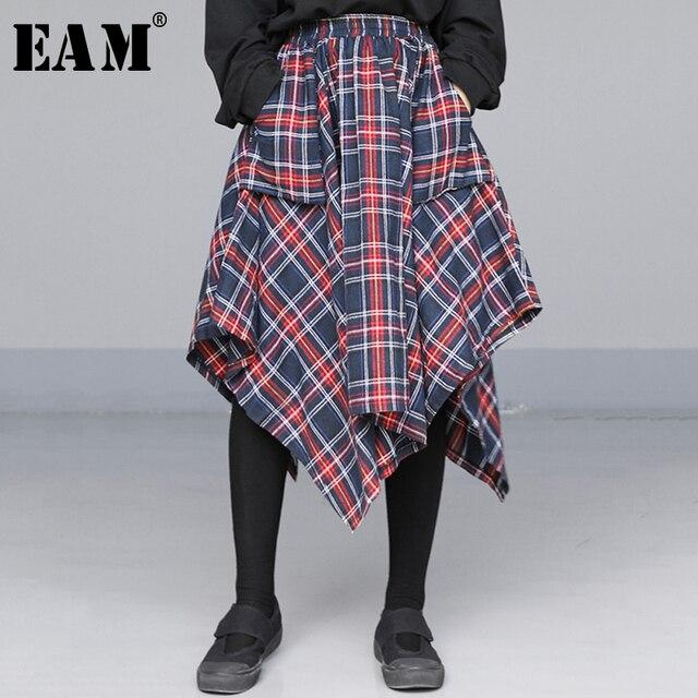 [EAM] גבוהה אלסטי מותניים אדום סימטרי משובץ תחבושת פיצול חצי גוף חצאית נשים אופנה גאות חדש אביב סתיו 2020 JD402