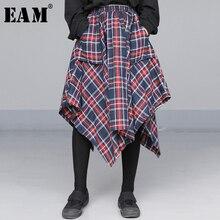 [Eam] Hoge Elastische Taille Rode Asymmetrische Plaid Bandage Split Half Body Rok Vrouwen Mode Tij Nieuwe Lente herfst 2020 JD402