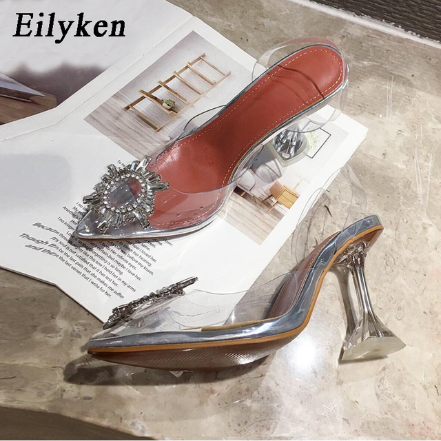 Eilyken Yellow PVC Transparent Women Pumps Crystal Pointy Toe High Heels Shoes Woman Perspex Spike Heel Back Strap Pumps Sandals