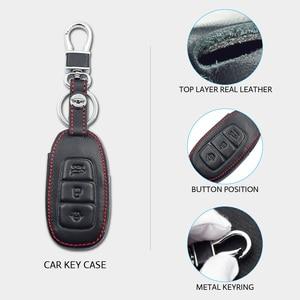 Image 3 - Leather Car Key Case For Hyundai Santa Fe TM 2019 I30 2018 Solaris Azera Elantra Grandeur Accent Keychain Holder Protector Cover