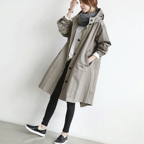 Long And Medium Length Outerwear The New Loose British Coat Windbreaker   Trenchs   Female With Hooded