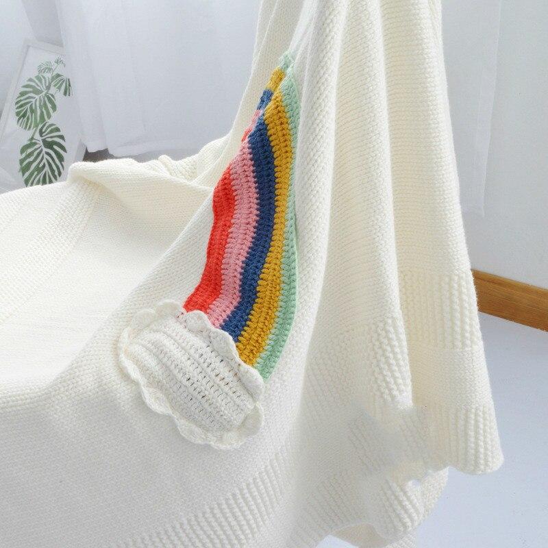 Rainbow Knitting Full Cotton Baby Items Blanket Swaddl Photograph Prop New Born Boy Girl Quilts Fashion Sleep Bag Crib