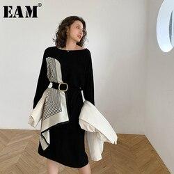 [EAM] femmes noir motif imprimé point grande taille robe nouveau col rond à manches longues coupe ample mode printemps automn2020 1W478