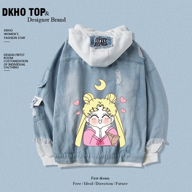 Star same paragraph Sailor hoodies sweatshirt denim jacket new spring and autumn short jacket two-piece suit 5