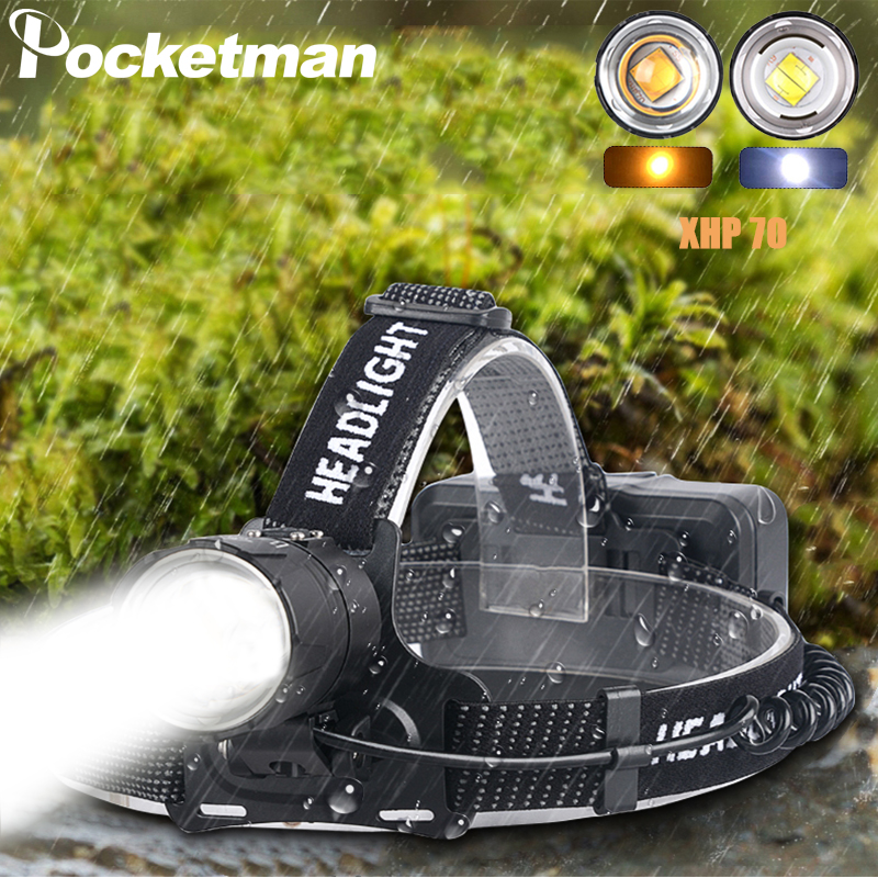XHP70.2 Led phare XHP70 plus puissant jaune ou blanc Led lampe frontale Zoom torche pêche Camping 3*18650 batteries