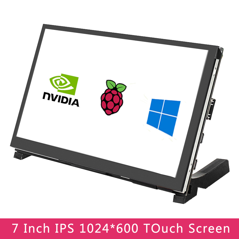 7 дюймов сенсорный экран Экран IPS 1024x600 HD ЖК-дисплей емкостный сенсорный HDMI Дисплей + держатель для Raspberry Pi 4 модели B/3B +/3B Jetson Nano ПК с ОС Windows